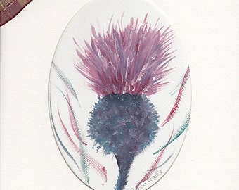 "Highland Thistles original painting in oils, complete with mount, Size is 10"" x 8"" fits a standard frame, great gift"