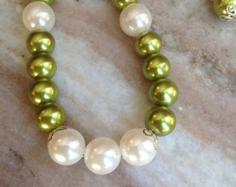 Green and ivory pearl necklace and earrings