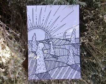 Winter Dawn A4 Print or 10x15cm Postcard Black&White [25]