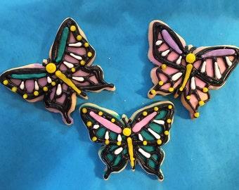 1 dozen Butterfly favor size cookies
