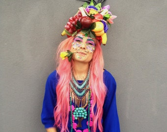 Quirky Fruit hat headress carmen Miranda, fashion, headdress, festival head piece,
