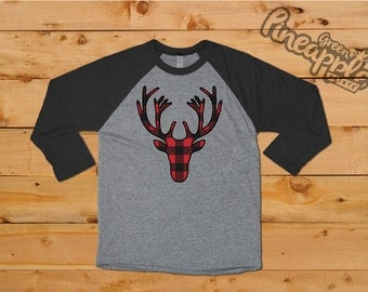 Buffalo Plaid Deer Silhouette Ladies 3/4 Sleeve Raglan Christmas T-Shirt