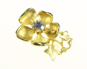 REDUCED 30% Gold tone Magnolia brooch 1960's vintage with aurora borealis stones