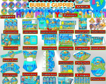 Bubble Guppies Birthday Party Kit, Editable Decorations Set Printable, Hat, Bottle Labels, Invitation, Toppers, Pack - Instant Download