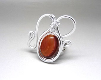 ethnic ring lamp magic coral striped agate