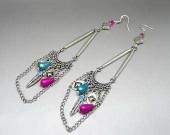 bobo earrings blue and silver rose