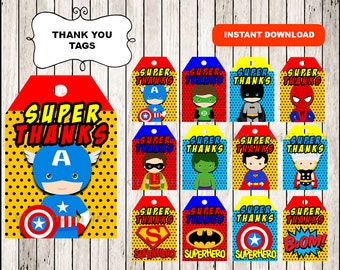 Superhero Thank you Tags instant download , Superhero party Thank you Tags, Printable Superhero tags