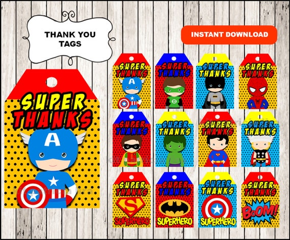 Superhero Thank you Tags instant download Superhero party