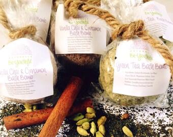 Vanilla Chai & Cinnamon, Green Tea Bath Bomb,100%natural,vegan,cruelty-free,gifts for her,good for skin,nourishing,mild,bubbles,handmade