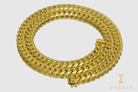 """10mm 14K Semi-Solid Yellow Gold Miami Cuban Link Men's Chain Necklace 16""""-32"""" inches"""
