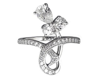 Gorgeous Hallmarked Unusual 925 Silver Cocktail Ring CZ RSBC226444
