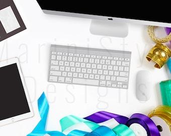 iMac Styled Stock Photography, iPad, Keyboard, white desk, Stock image, Stock Photo, Gold, Green, Blue, Feminine Styled Desktop Mockup, 111