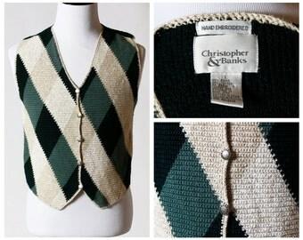 Vintage Men's Vest - Christopher & Banks Handmade Argyle 80s Large L Embroidered