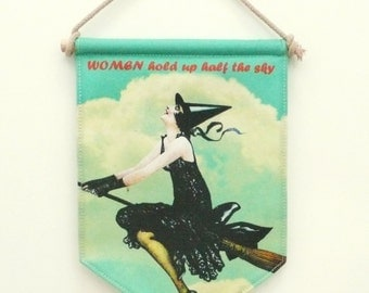 Witch Flag Banner. Fabric sign. Wall Art Print. Pennant Flag. Feminist
