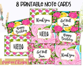 Colorful Pink and Green Note Cards Printable set of 8 Stationery floral