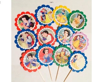 12 Snow White birthday, Snow White party favors, Snow White birthday party decotations, Snow White cupcake toppers OR party tags