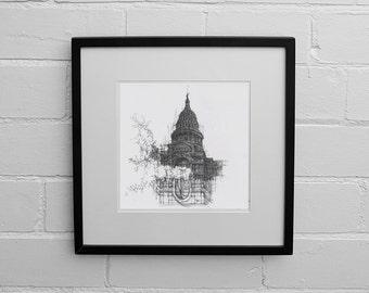 Texas Art Print, Texas State Capitol, Texas Print, Texas Drawing, Texas Map, America Prints, Wall Art Print, Architecture, Drawing Print