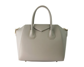 Structured leather tote with shoulder strap