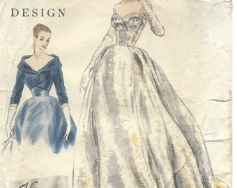 1954 Vintage Vogue Sewing Pattern B32 Dress Evening Gown & BOLERO JACKET (1365) Vogue 824