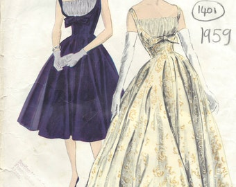 1959 Vintage VOGUE Sewing Pattern B32 DRESS (1405) Vogue 191