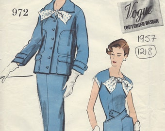 1957 Vintage VOGUE Sewing Pattern B36 DRESS & JACKET (1218) By Digby Morton Vogue 972