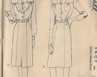 "1940s Vintage Sewing Pattern B36"" DRESS (R639) McCall 5469"