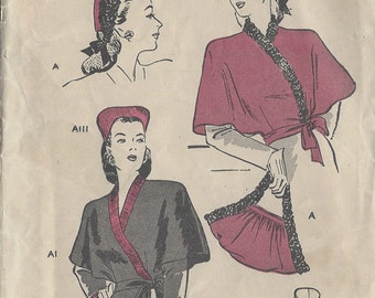 "1940s Vintage Sewing Pattern B32""-34"" Cape, Hat & Bag Set (R132R)"