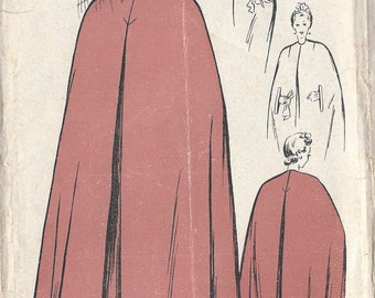 "1940s Vintage Sewing Pattern CAPE B42"" (R533) WELDON 5483XS"