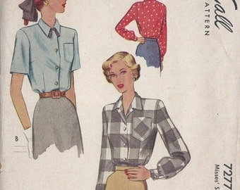 1948 Vintage Sewing Pattern B34 BLOUSE (1094) McCall 7277