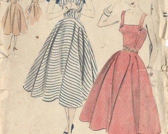 "1952 Vintage VOGUE Sewing Pattern B36"" DRESS & CAPELET (R104)  Vogue 7706"