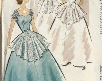 "1951 Vintage Sewing Pattern B34"" Evening Dress/Ballgown & Cape  (R357)   McCalls 8719"