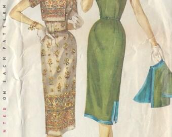 "1956 Vintage Sewing Pattern B32"" DRESS & JACKET (R342) Simplicity 1522"