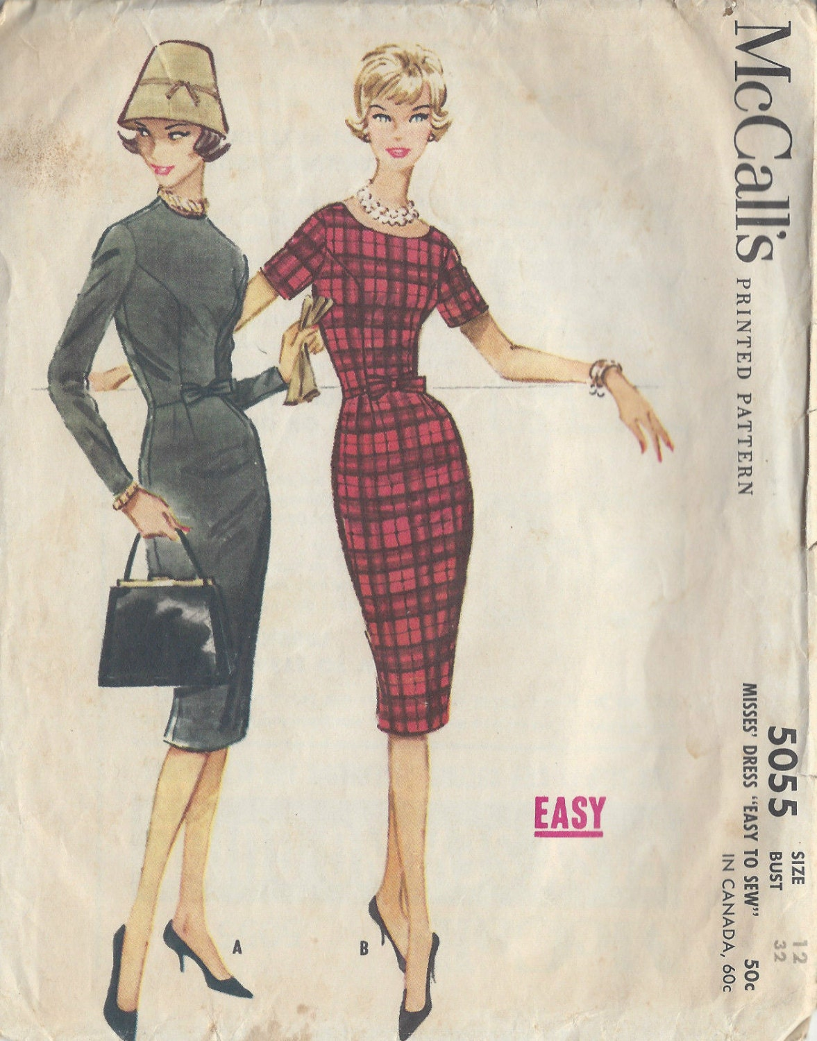 7015d2406a85 1959 Vintage Sewing Pattern B32 WIGGLE DRESS (R927) McCall's 5055 from  tvpstore on Etsy Studio