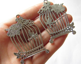 Birdcage Charm Pendant Antique Silver Drop Handmade Jewelry Finding 40x65mm