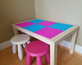 Kids Lego Brick Building Table with 2 Chairs. Girls Lego Table. Birch Finish