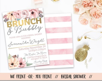 Brunch and Bubbly Bridal Shower Invitation, Chic Brunch and Bubbly Invitation, Bridal Brunch Invitation, Bridal Shower Brunch, Pink Gold