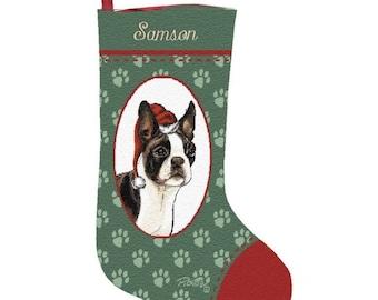 Boston Terrier Dog Personalized Christmas Stocking