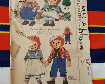 McCalls 820 Pattern , McCalls Raggedy Ann and Andy Doll Pattern , FREE SHIPPING , Vintage McCalls Patterns , Vintage doll pattern