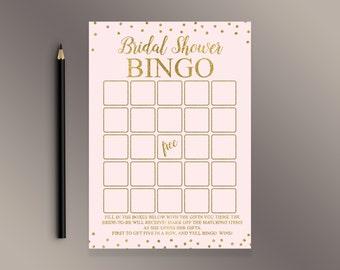 Pink Bridal Shower Bingo Cards, Bridal Bingo, Gold Dots Bridal Shower Games Printable, Prefilled Bingo, Bridal Shower Décor, Shower Activity