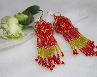 Colorful fringe beaded earrings, Red yellow seed bead earrings, Long multicolor beaded earrings, , Hand embroidered Flower dongle earrings
