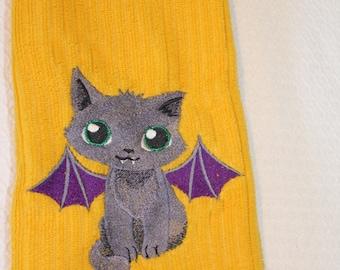 Vampire towel, Embroidered, towel, Cat towel, Dish cloth, tea towel, Grey, vampire, towel, Cat, Halloween