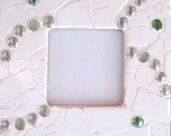 """Frame 7.75 """"X 7.75"""" - mosaic ceramic ball-unique glass white-green-gift women-deco home-decor - art to spruce up """""""