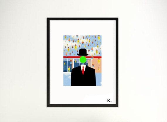 Illustration Magritte, poster, print, portrait of Magritte, interior design, colored poster, modern art, digital art, pop