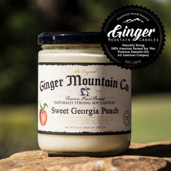 "Sweet Georgia Peach Scented Candle ""Free Shipping"" 16 Ounce Large  ""Strong Highly Scented"" Double Wicked, Soy, Super Strong, Best Scented"