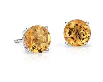 6mm Citrine Stud Earrings 925 Sterling Silver Earrings Citrine Stud Faceted Gemstone Post Earrings Yellow Color Earrings Jewelry