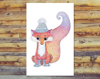 Fox Card, Printable Greeting Cards, Instant Download, Blank Greeting Cards, All Occasion Cards, Digital Cards, Fox Pencil Art, Fox Socks