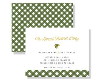 customizable farm invite / harvest invite / baby shower invitation / harvest party / farm invite / green and yellow invitation / gingham