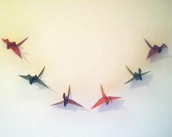 Origami Crane Garland (6 Cranes on a 4 foot string)