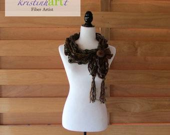 Brown Necklace / Handmade Crochet / Women's Gift Idea / Brown / Orange / Purple / Green / Acrylic / Cowl / Collar / Unique