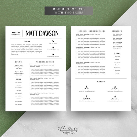 one page resume template free download men modern graphic designer professional two single word reference sample